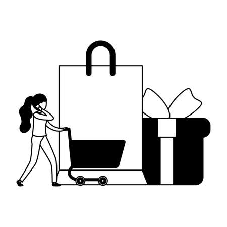 woman with smartphone and shopping cart vector illustration design