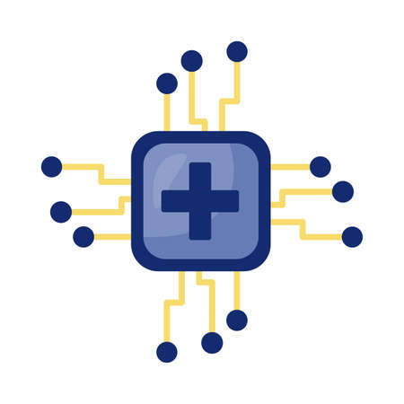 medical cross symbol in processor computer detail style vector illustration design