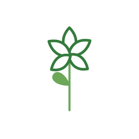 cute flower with leaf spring half color style icon vector illustration design