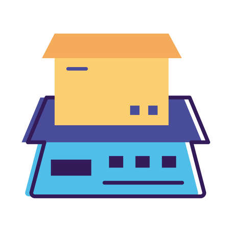 box carton in balance delivery service line and fill style vector illustration design