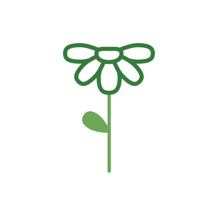 cute flower with leaf spring half color style icon vector illustration design Standard-Bild - 151149832