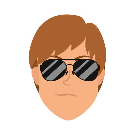 young man head with sunglasses character vector illustration design