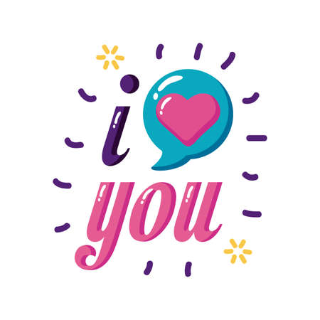 I love you text with heart bubble flat style icon design of Passion and romantic theme Vector illustration