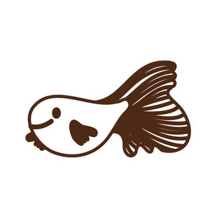 cute fish sea life animal isolated icon vector illustration design Иллюстрация