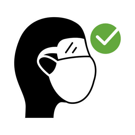 man using face mask silhouette style icon vector illustration design Ilustracja