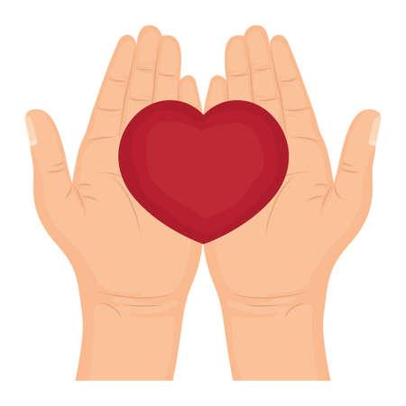 hands lifting heart love icon vector illustration design