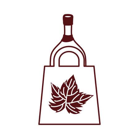 wine bottle drink in paper shopping bag vector illustration design