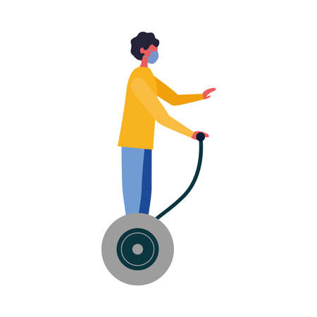 Man with mask on hoverboard design of medical care and covid 19 virus theme Vector illustration