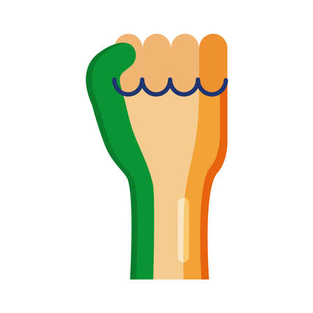 Independece day india celebration flag in hand fist flat style icon vector illustration design