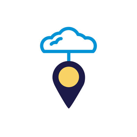 cloud computing with pin location lineal color style vector illustration design Ilustracja