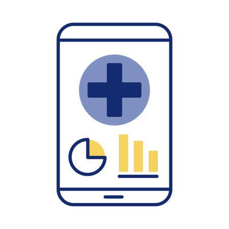 smartphone with medical cross health online line style vector illustration design
