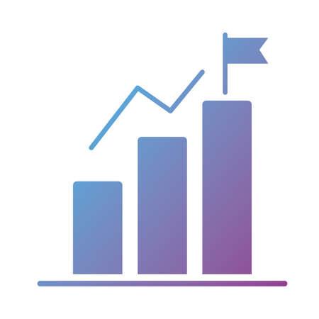 statistics bars and flag silhouette style icon vector illustration design Foto de archivo - 151152855