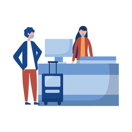 Woman and man with medical mask on airport reception design, Cancelled flights travel and airport theme Vector illustration
