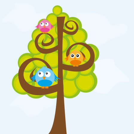 cute birds and tree cartoon over sky background. vector