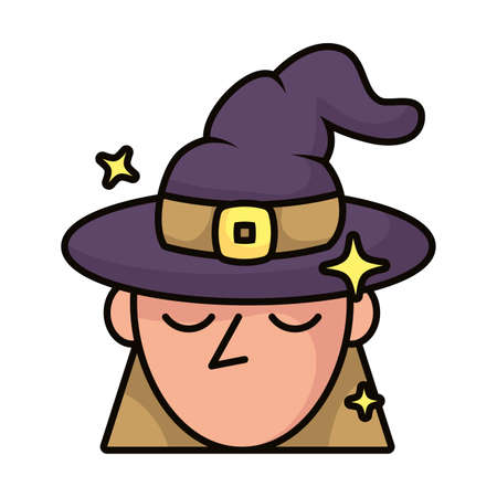 witch with hat magic sorcery icon vector illustration design
