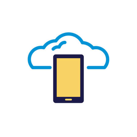 cloud computing with smartphone lineal color style vector illustration design