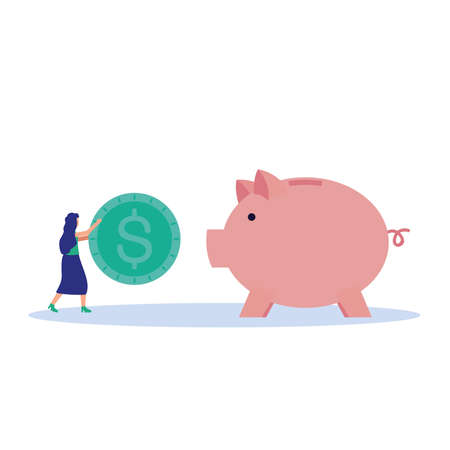 Woman avatar with mask and coin on piggy of money financial banking commerce and market theme Vector illustration