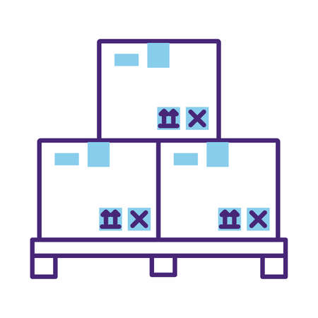 pile of boxes packing delivery service line style vector illustration design 일러스트