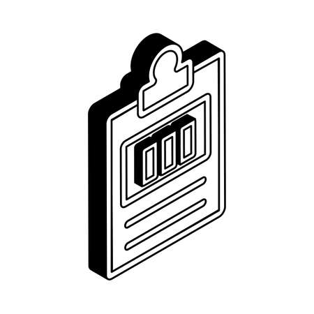 Document isometric line style icon design, Data archive and information theme Vector illustration