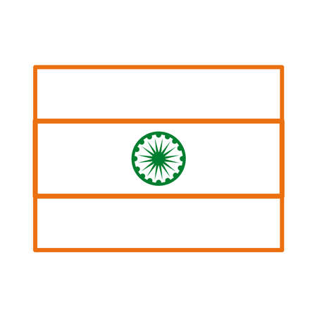 Independece day india celebration flag line style icon vector illustration design
