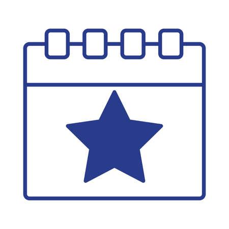 calendar with star line style vector illustration design