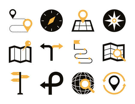 bundle of area and locations set icons vector illustration design