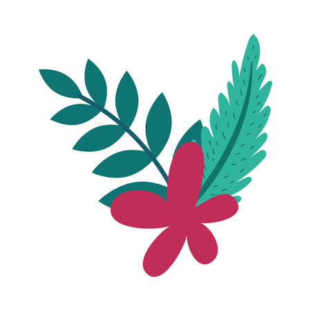 beautiful flower with leafs decoration vector illustration design