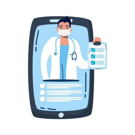 professional doctor with stethoscope in smartphone vector illustration design