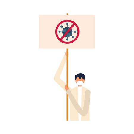 Man with medical mask and ban banner board design, Manifestation protest and demonstration theme Vector illustration Ilustracja