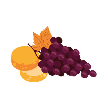 grapes fresh fruits and breads vector illustration design 스톡 콘텐츠 - 151153764