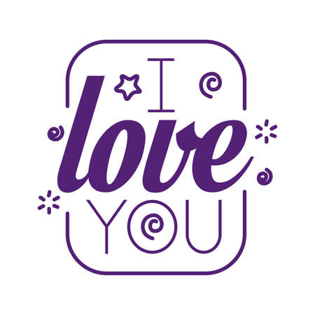I love you text inside frame line style icon design of Passion and romantic theme Vector illustration