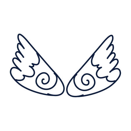 wings angel flat style icon vector illustration design