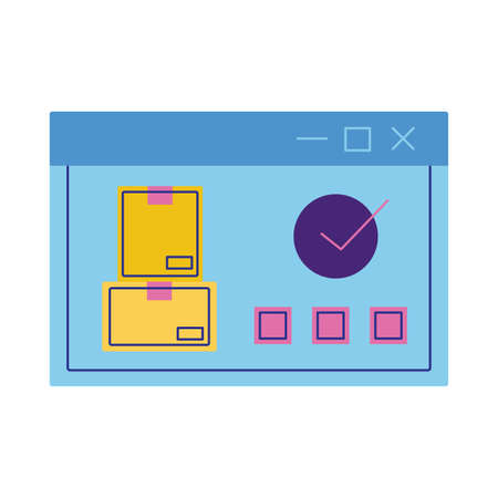 webpage with delivery boxes flat style icon vector illustration design