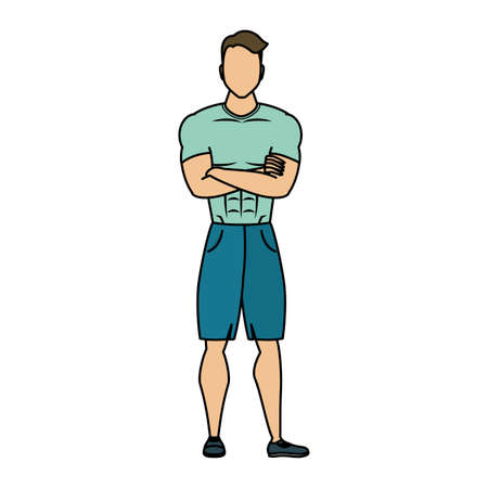 young man athlete character healthy lifestyle vector illustration design Ilustração