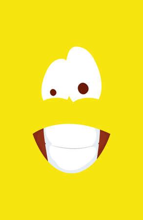 happy april fools day card with emoji crazy face vector illustration design
