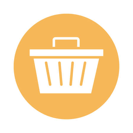 shopping basket commerce block style icon vector illustration design