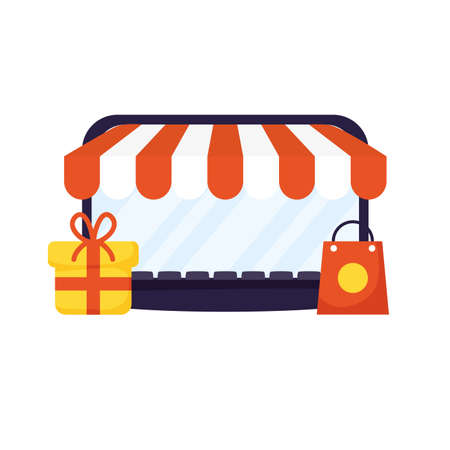 laptop computer with parasol store and gift vector illustration design