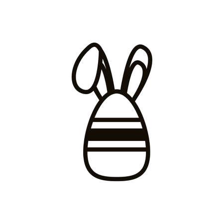 easter egg painted with stripes and rabbit ears line style vector illustration design Ilustração