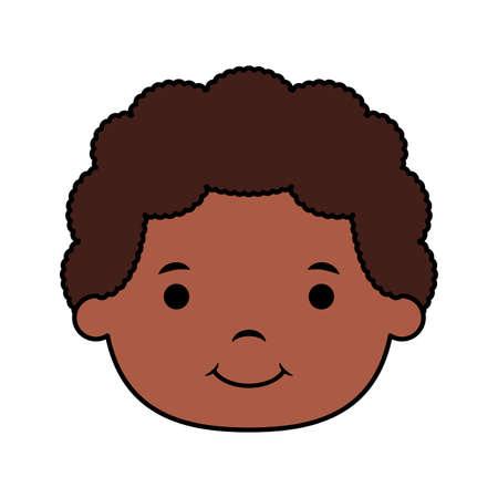cute little afro boy head comic character vector illustration design 矢量图像
