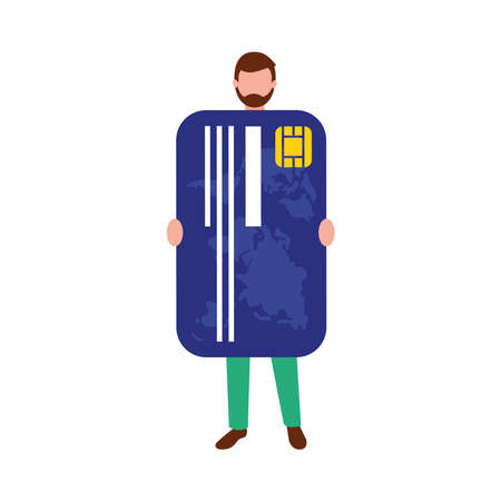 Man avatar with credit card of money financial banking commerce and market theme Vector illustration