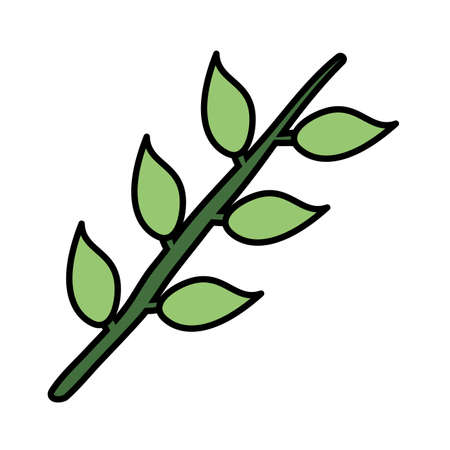 branch with leafs plant icon vector illustration design Иллюстрация