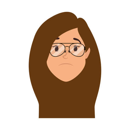 cute young woman head with eyeglasses character vector illustration design