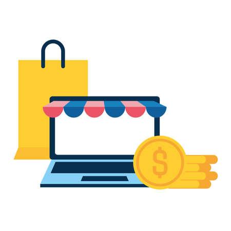 laptop screen with dollar coins icons vector illustration desing Ilustração