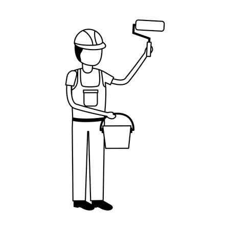 worker construction tool roller bucket vector illustration design