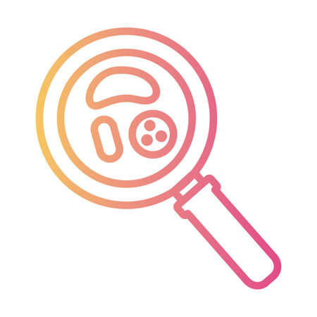 bacteria culture in laboratory magnifying glass linear gradient style vector illustration design Vecteurs