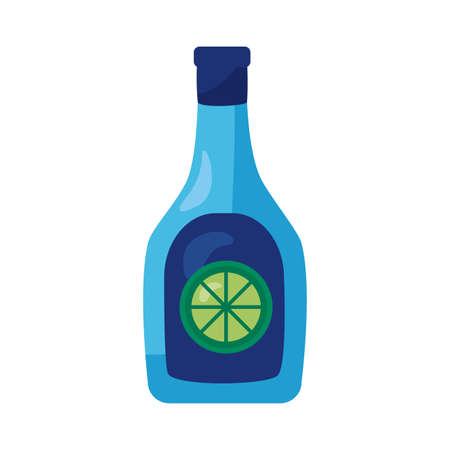 tequila bottle mexican detaild style icon vector illustration design Ilustração