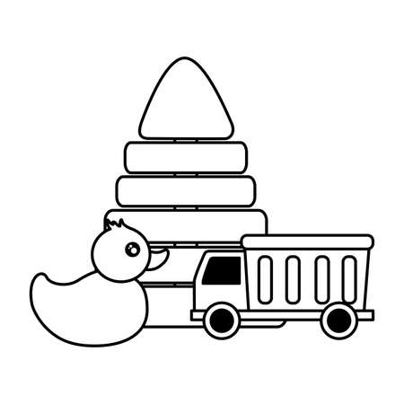 kids toys duck pyramid truck vector illustration Illustration