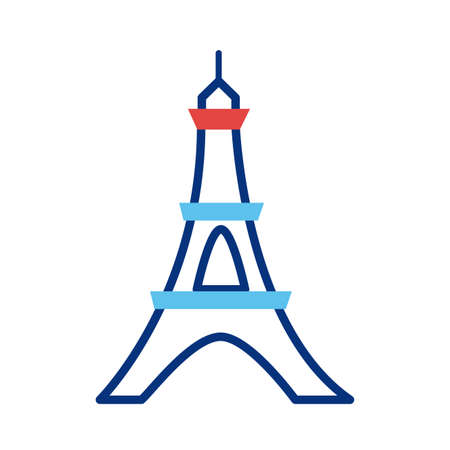 tower eiffel france monument line style vector illustration
