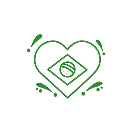 heart with brazilian flag country isolated icon vector illustration design