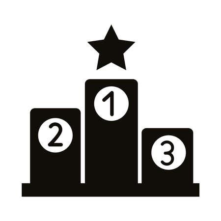 podium of championship silhouette style icon vector illustration design